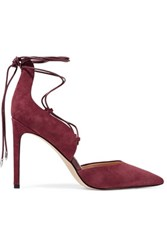 Sam Edelman Helaine Leather Trimmed Lace Up Suede Pumps Burgundy