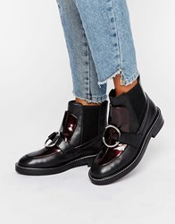 Asos Antos Leather Chelsea Ankle Boots Tortoise Black