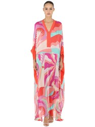 Emilio Pucci Printed Silk Long Caftan Dress Yellow Fuchsia
