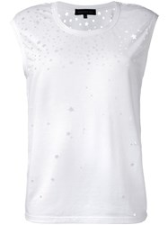 Barbara Bui 'Stars' Cut Off Detailing T Shirt White