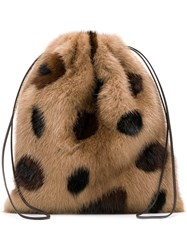 Simonetta Ravizza Furrissima Leo Mini Backpack Nude And Neutrals