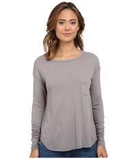 Three Dots Long Sleeve Boat Neck Tee Greystone Women's T Shirt Beige