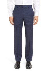 Zanella Men's Devon Flat Front Plaid Wool Trousers Medium Blue