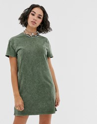 Bershka Mini Acid Wash Dress In Khaki Green