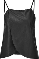 Mason By Michelle Mason Wrap Effect Perforated Leather Camisole Black