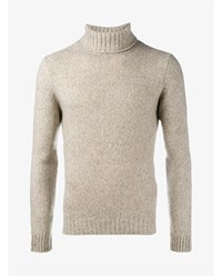 Etro Cashmere And Silk Turtle Neck Jumper Beige Denim White