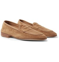 Edward Green Polperro Nubuck Trimmed Suede Penny Loafers Brown