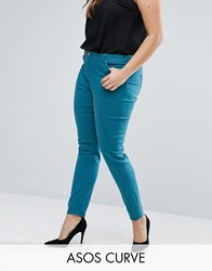 Asos Curve Lisbon Skinny Mid Rise Jean In Teal Teal Green