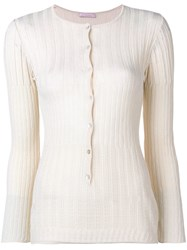Kristina Ti Ribbed Knitted Cardigan Neutrals