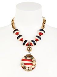 Sonia Boyajian Gypsy Sunset Gold Plated Necklace Red White Blue