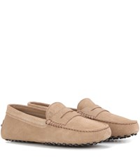 Tod's Gommino Suede Loafers Beige