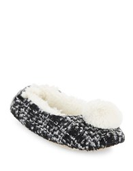 Kensie Faux Fur Pom Slippers Black