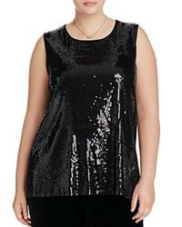 Vince Camuto Plus Sleeveless Sequin Top Rich Black