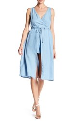 Want And Need Chambray Romper Dress Blue