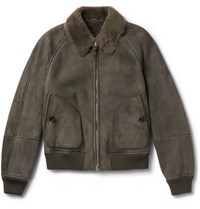 Tom Ford Shearling Bomber Jacket Green