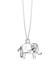 Origami Sterling Silver Elephant Pendant Necklace