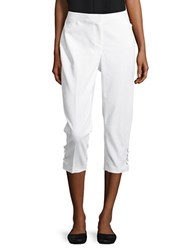 Rafaella Petite Patterned Cuff Cropped Pants White