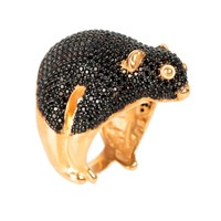 Latelita London Possum Ring Gold Black Zircon Black Gold