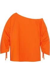 Tibi One Shoulder Cotton Poplin Top Orange