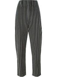 Isabel Marant Striped Cropped Trousers Black