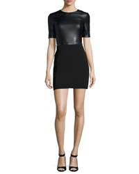 Thierry Mugler Short Sleeve Studded Leather Mini Dress Black