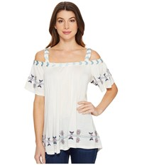 Scully Gail Embroidered Tunic Ivory Women's Blouse White