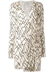 Eggs Printed Wrap Dress Women Silk 44 Nude Neutrals