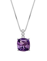 Lord And Taylor Diamonds Amethyst Sterling Silver Pendant Necklace Purple