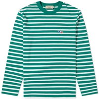 Maison Kitsune Long Sleeve Stripe Tricolour Fox Patch Tee Green