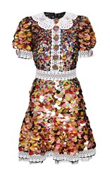 Dolce And Gabbana Paillette Mini Dress With Crochet Trim White Yellow Pink