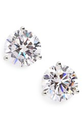 Nordstrom Women's Precious Metal Plated 6Ct Tw Cubic Zirconia Earrings Clear Cz Sterling Platinum