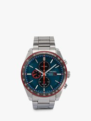 Seiko Ssc717p1 'S Chronograph Date Bracelet Strap Watch Silver Turquoise