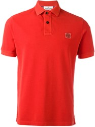Stone Island Logo Patch Polo Shirt Red