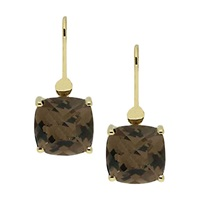 London Road 9Ct Gold Square Smokey Quartz Drop Earrings Gold