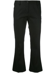 Alberto Biani Flared Cropped Trousers Women Cotton Spandex Elastane 44 Black