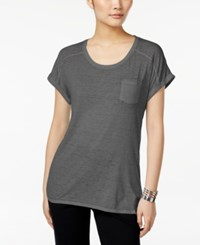 Styleandco. Style And Co. Petite One Pocket Burnout Tee Black