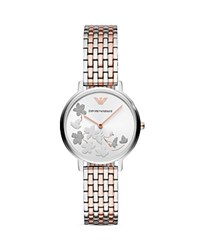 Emporio Armani Ladies' Stainless Steel Floral Motif Watch 32Mm X 36Mm White Multi