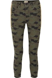 L'agence Margot Cropped Camouflage Print High Rise Skinny Jeans Army Green