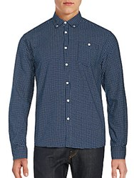 Artistry In Motion Dot Print Button Down Shirt Navy