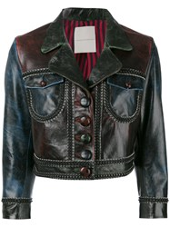 Marco De Vincenzo Cropped Jacket Women Calf Leather Polyester 42