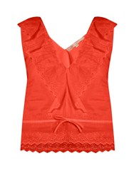Vanessa Bruno Giwette Broiderie Anglaise Cotton Top Red