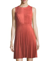 Neiman Marcus Faux Suede Fit And Flare Dress Coral