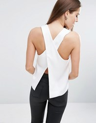 Asos Satin Wrap Back Top With Sheer Inserts Ivory White