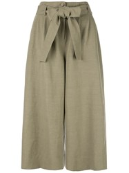 Co Bow Tie Waist Culottes Green