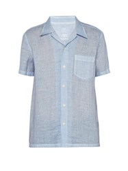 120 Lino Short Sleeve Linen Bowling Shirt Light Blue