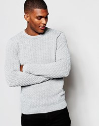 Reiss Crew Neck Knitted Jumper In Twisted Yarns Navy