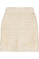Maje Textured Open Knit Mini Skirt Ecru
