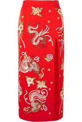 Attico Embroidered Satin Midi Skirt Tomato Red