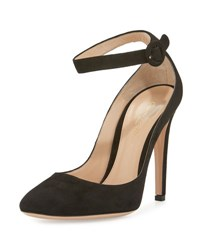 Gianvito Rossi Suede Ankle Wrap 105Mm Pump Black