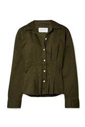 Current Elliott The Tella Pleated Cotton Blend Twill Jacket Army Green